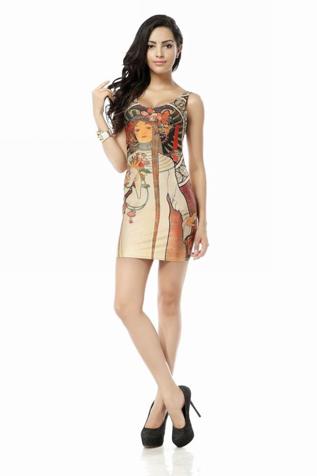 One-piece Dress Print Galaxy Dress Sundress Fashion Vest Dress Skirt